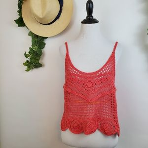 Altar'd State Tops - Altar'd State crotchet knit orange tank top, small